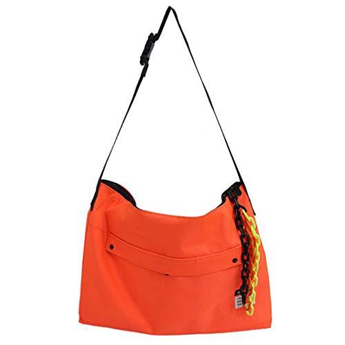 ZHANJIN Female Bag with Pendant Messenger Bag Ins Port Style Street Shooting Student Shoulder School Bag Large Capacity Messenger Bag Simple Tote Bag,Orange