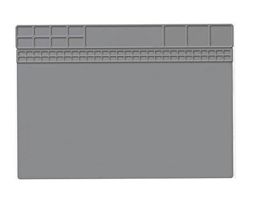 Hitzebeständige Silikon Löten Projekt Mat Pad Geschenke Rutschfeste Reparatur Matte für Lötkolben Repair Geschenk für Techie 40x30 CM (Grau)