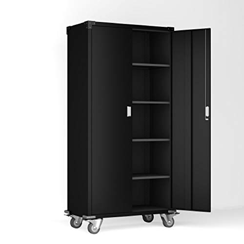 MSKEWOAX Steel Rolling Storage Cabinet with 4 Adjustable Shelves Metal Utility Cabinet with Lock for Garage, Office, Kitchen, Laundry Room (35.4