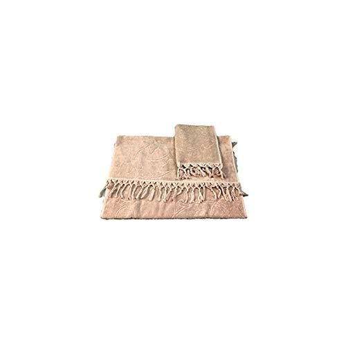 Par de toallas de rizo con flecos de puro algodón de calidad Art. Fly (Sabbia)