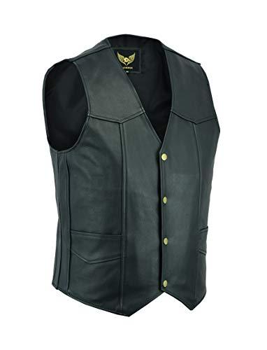 Leatherick Gilet in vera pelle da uomo in pelle nera - Stile casual stile motociclista (2XL)