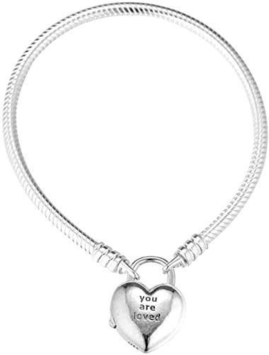 VVHN Pulseras de los Hombres San Gift You Are Loved Heart Candado Pulsera de Plata 925 Que se Adapta a Las Pulseras Pandora Originales Joyas con dijes de Moda (16 CM)