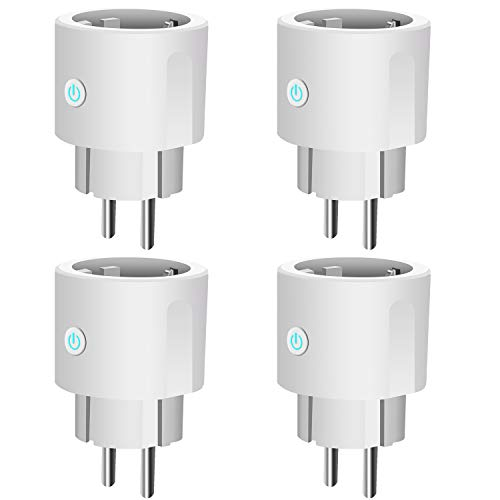 Enchufe Inteligente,WiFi Smart Plug Control remoto Funciona con Amazon, Alexa, Google Assistant e IFTTT, No Se Require de Hub, Función de Temporización (4 Packs)