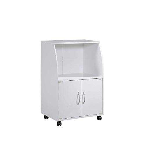Hodedah Mini Microwave Cart with Two Doors and Shelf for Storage, White
