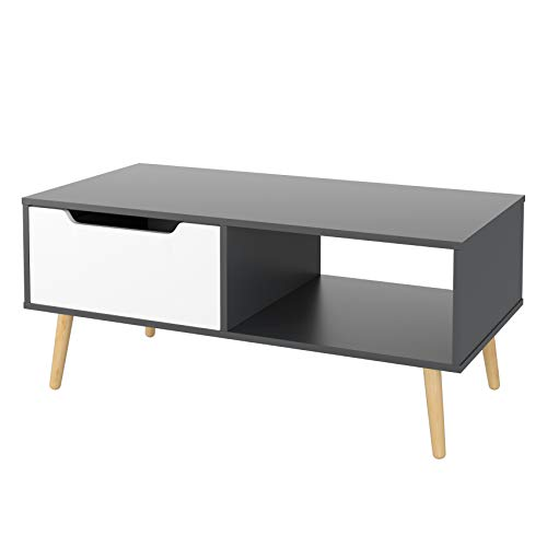 Homfa Coffee Table Living Room Table Modern Side Table TV Stand Rectangle Centre Table with Drawer 100x49.5x43cm (Grey+White)