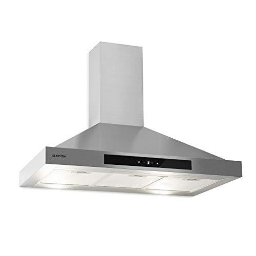 KLARSTEIN Zelda Eco - Cappa Aspirante, Classe Energetica A+, 410 m³/h, Ricircolo/Scarico, a Parete, 240 W, 3 Livelli, Luce LED, Touch Control, 90 cm, Argento