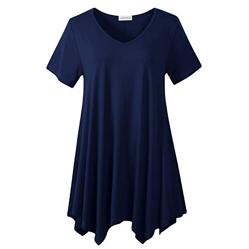 LARACE Womens V Neck T Shirts Casual Loose Fit Short Sleeve Tunic Plus Size Tops for Leggings(Navy Blue 1X)