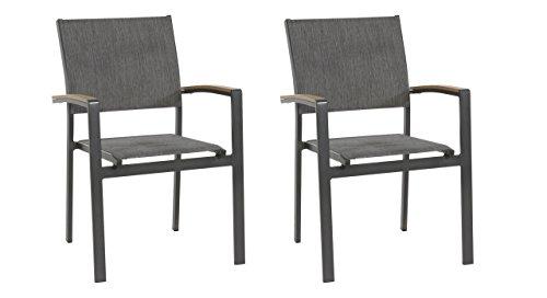lifestyle4living Gartenstuhl 2er Set (stapelbar), Alu, Bezug (anthrazit), Wetterfester Metall Garten Stapelstuhl. Ideal auch als Balkon-Stuhl und Terrassenstuhl