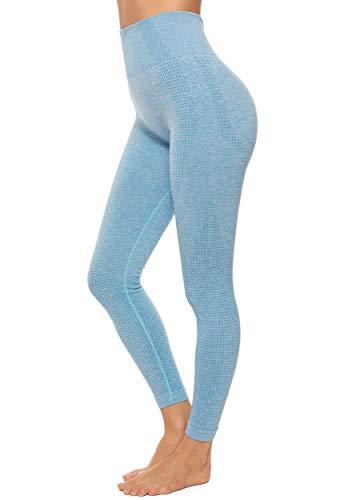 FITTOO Pantaloni Sportivi da Donna Legging Sport Jacquard Fantasia 3D Stampa Pantaloni Senza Cuciture per Yoga da Palestra Blu Cielo S
