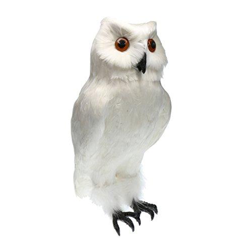 Baoblaze Künstliche Eule Vogel mit Feder Dekovogel Kunstvogel Figuren Modell - Weiß # 1, 18x 27cm