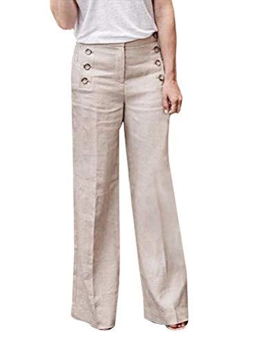 Minetom Sommerhosen Damen Elastische Hohe Taille Tasten Solid Baggy Lose Leinen Hose mit Weitem Bein Vintage Freizeithose Haremshose Yogahose B Beige XXL