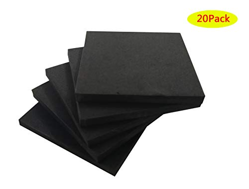 Rubber Foam Non Slip Furniture Pads, Without Self Stick Adhesive Non-Slip Foam Anti-Vibration Pads ((20pack)3 in x 3 in x 1/3 in)