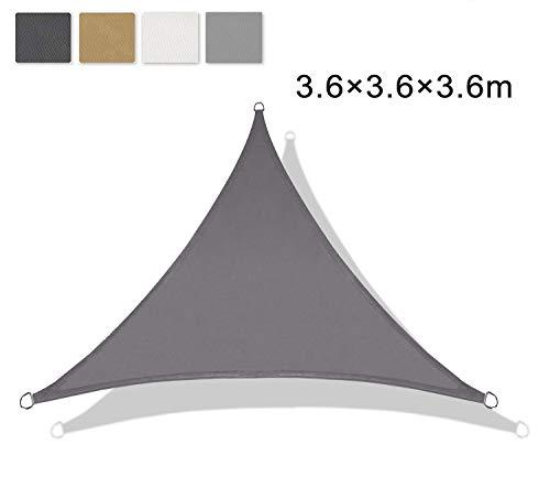 LOVE STORY Triangle 3.6 x 3.6 x 3.6 m Charcoal(PES) UV Block Waterproof Sun...