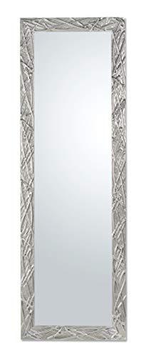 Espejo con Marco de Madera de Abeto Moderno Acabado Plata cromada cm. 47x142, Vertical y Horizontal. Hecho a Mano. Made in Italy