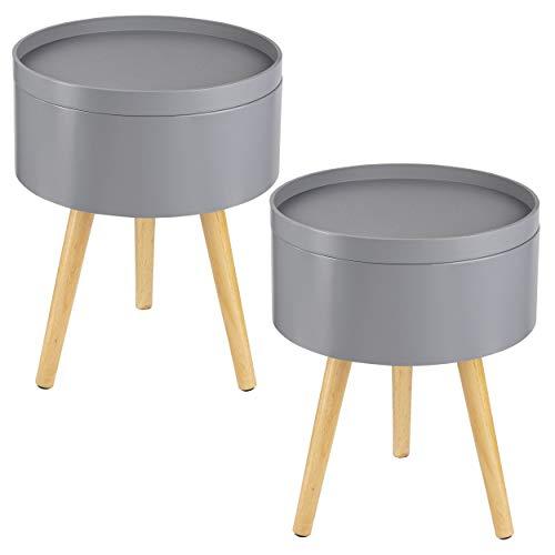 ONVAYA Beistelltisch Sofia aus Holz   2er-Set   Ø 35 cm   Couchtisch rund   Nachttisch Kiefer   Stauraum & Abnehmbarer Deckel   Modernes skandinavisches Design   Grau Holz