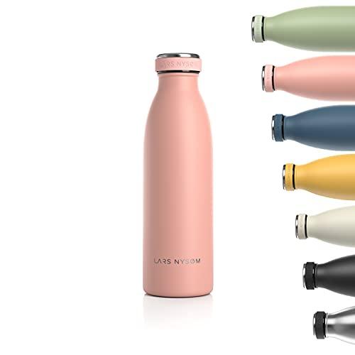 Lars NYSØM Botella de Acero Inoxidable de 500ml| Botella aislada 0.5l sin BPA | Botella de Agua a Prueba de Fugas para Deportes, Bicicleta, Perro, bebé, niños
