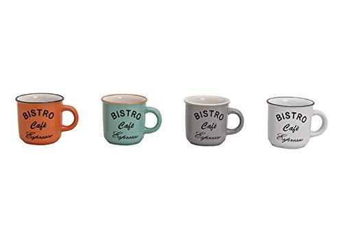 MC-Trend 4er Set Espressotassen in Retro Emaille Optik Tasse Becher Espresso Kaffee Bistro Gastro Event Küche Kantine