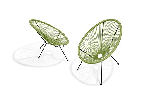 Pationate Acapulco Patio Balcony Chair, Modern Outdoor Wicker Chair, Set of 2 (Midnight)