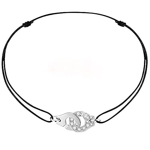 Collar Collar De Esposas De Cuerda De Plata De Ley 925 Con Colgante De Esposas De Circonita, Cordones Ajustables Para Mujer, Joyería De Moda