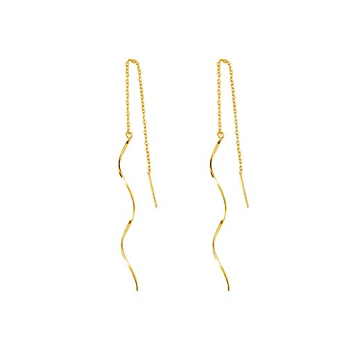 JJH Spiral Line Drop Earrings, Gold Plated Sterling Silver, for Women Wife Girlfriend, for 2021, 12.5 cm Long