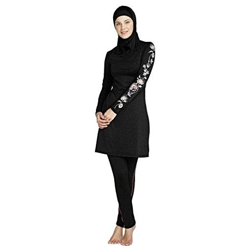 GreatestPAK Badebekleidung Dame Islamische Muslime Full-Cover-Bademode Frauen Modest Beachwear Schwimmanzüge,L,Schwarz2