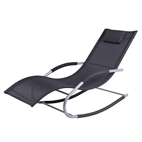 Outsunny Chaise Rocker Patio Lounge Chairs with Recliner w/Detachable Pillow & Durable Weather-Fighting Fabric, Black