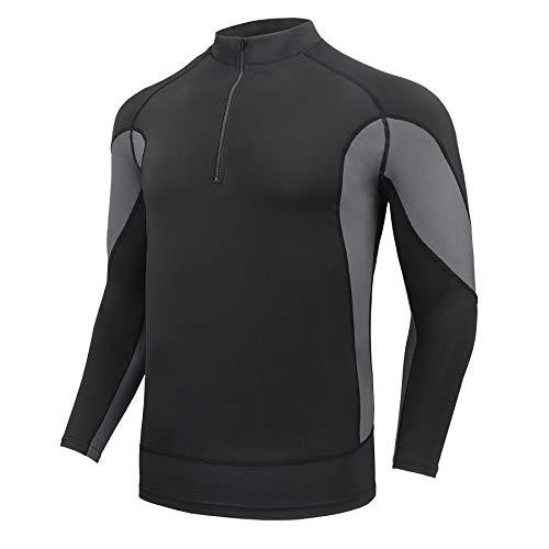 AMZSPORT Maglia Uomo Manica Lunga Felpa 1/4 Zip T-Shirt Sportiva per Running Palestra Allenamento, Nero M