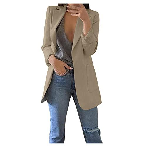 Zldhxyf Blazer - Blazer elegante de manga larga para mujer, monocolor, corte ajustado, solapa para oficina, con botones, caqui, XXL