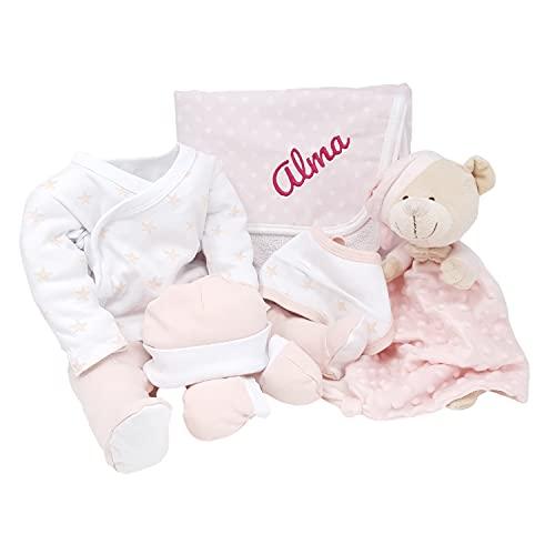 Mi Noche Mabybox – Canastilla para bebés personalizada con set de pijama para bebé, doudou y arrullo con nombre del recién nacido – Personaliza tu regalo para recién nacido. (Rosa)