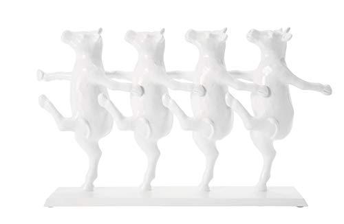 Kare Design Deko Figur Dancing Cows, moderne, kleine Tierfiguren Dekoration, lustige Dekoobjekte, weiß (H/B/T) 23x39,5x7cm, one size