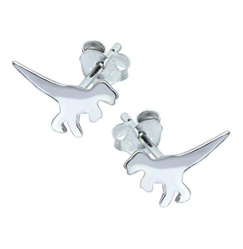 Plain T Rex dinosaurio pendientes–plata de ley