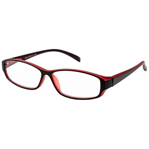 エール 老眼鏡 2.0 度数 メンズ プラスチックフレーム バネ蝶番 ブラック レッド AP125S