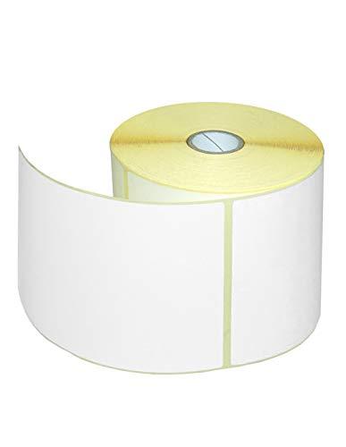 1 Rolle Thermo Etiketten Weiß 100x150 mm 500 Stück je Rolle Kern 25 mm Thermo Etiketten auf Rolle mit Perforation aussen gewickelt permanent haftend selbstklebende Etiketten für Thermodrucker