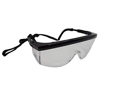 Glac Store® Gafas de protección neutrales transparentes, de policarbonato antiarañazos, antiempañamiento, de seguridad, airsoft, de tiro, trabajo, barras ajustables