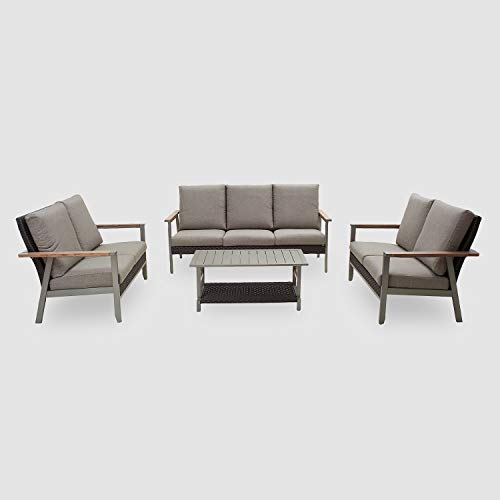Festival Depot 4-Pieces Patio Outdoor Conversation Loveseats Chairs Set with Coffee Rectangle Table Metal Frame Furniture Garden Bistro Seating Thick Soft Cushions (4pc Patio Loveseat Set)