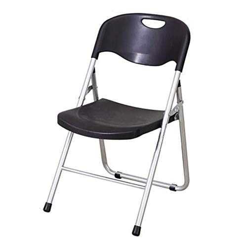 QIDI Chaise Pliante, Tabouret Pliant, Chaise d'ordinateur, Chaise de Bureau, Plastique PP, Salle de réception Pliable, Home Office - 50 * 52 * 82cm - Noir (Couleur : Noir)
