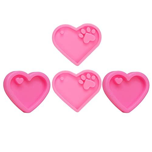 MILISTEN Molde de Fundición de Silicona Molde de Resina Corazón Epoxi Llavero Joyería Molde con Agujero para Manualidades (Osos Palma Corazón 2 Piezas Cada)