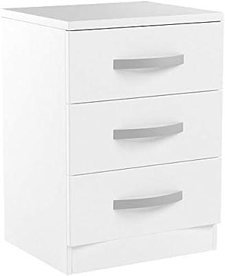Marque Amazon - Movian Haute brillance 3 Tiroir Table de chevet, Blanc, 56 x 40 x 36 cm