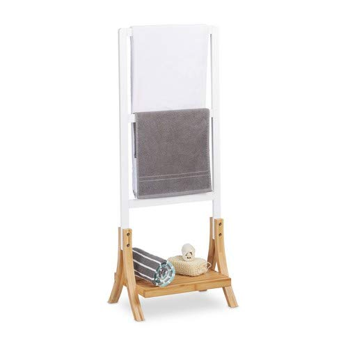 Relaxdays Handtuchhalter stehend mit 3 Handtuchstangen, Ablage, Badezimmer Handtuchhalterung HBT:104x41x28,5 cm, weiß