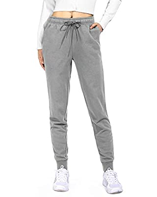 Promover Women Joggers Pants Elastic Waist Workout Running Drawstring Tapered Lounge Sweatpants(Light Gray,S)