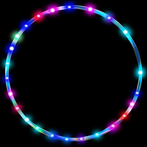 24in LED Hoop Dance Exercise Light Up Hoop for Kids Children, Fitness Equipment Sport Fun Auto Color Changing Strobing Glow Lights, 60cm Hoop Hooper Gift(Two AA Batteries are Needed. Not Included)