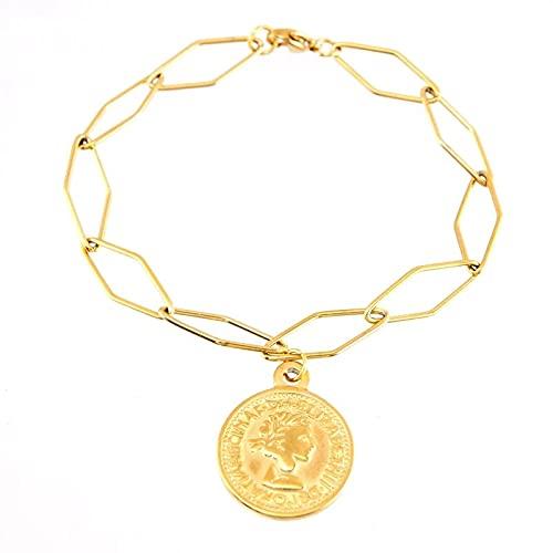 HMANE Pulsera con Dije de Moneda de Acero Inoxidable para Mujer, Dije de Medalla de San Benito de Metal de Color Dorado de 19,5 CM