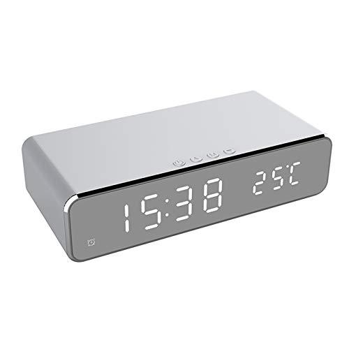 LED-Wecker, elektrische LED Wecker Telefon Schreibtisch-Digital-Thermometer-Taktgeber mit Wireless-Ladegerät HD-Spiegel Uhr mit Datum 12 / 24H-Schalter Tischuhr Schlafzimmer Büro leuchtende große Disp
