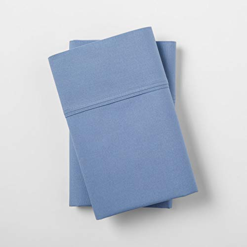 Threshold Ultra Soft Standard Queen Blue 300 Count Brushed for Softness 4 Pack