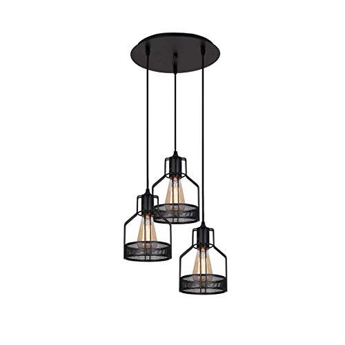 SFGH Lámpara de araña Retro de 3 Luces, lámpara Colgante de Techo Industrial con Pantalla de Jaula de Alambre de Metal Negro for Comedor