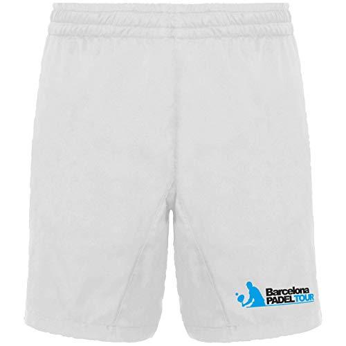 Barcelona Padel Tour   Pantalón Corto con Bolsillos para Hombre   Short en Tejido Ligero y Transpirable con Estampación Especial de Pádel   Ropa Deportiva Blanco S