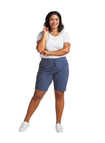 Zizzi Damen Sommer Shorts Loose Fit Kurze Hose Sommerhose , Farbe: Blau, Gr. 50-52 (L)