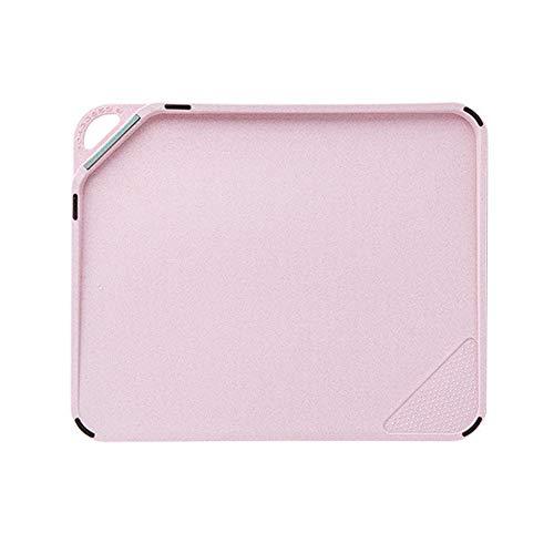 Tabla de cocina 27.7x 33.8x 1.5cm, sin BPA, apta para lavavajillas, pared de jugo, mango fácil de agarrar, antideslizante, tabla de cortar para trigo (Trigo tabla de cortar 27.7x 33.8x 1.5cm-Rosado)