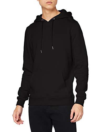 Urban Classics Herren Kapuzenpullover Basic Sweat Hoodie, einfarbiger Kapuzensweater mit Känguru Tasche, Kapuze verstellbar - Farbe black, Größe L