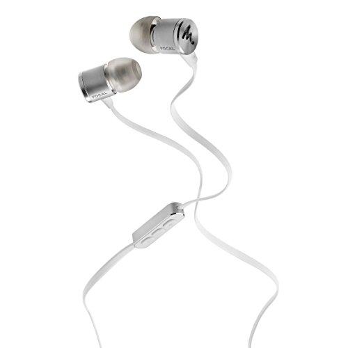 Focal Spark In-Ear Kopfhörer (mit Mikrofon und Fernbedienung, Anti-Tangle-Kabel, leichtgewichtig mit 14 g) Silber
